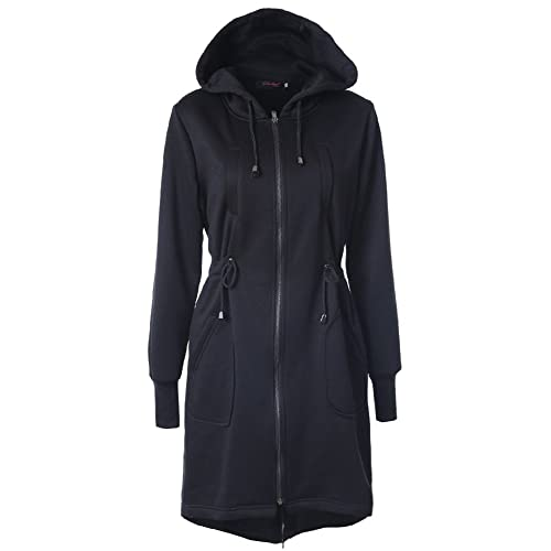 Abrigo Largo Sweatshirt Capa – Chaqueta Larga Otoño Invierno Outfits Cremallera Outerwear Capucha Negro Azul Café Caqui Gris S-2XL hibote