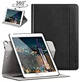 Ztotop Case for iPad 9.7 2018/2017 - 360 Degree Rotating Stand/Genuine Leather Cover with Auto Wake/Sleep, Pencil Holder,Card Pocket for New iPad 9.7'' 5th/6th Gen, iPad Air 2/iPad Air,Black