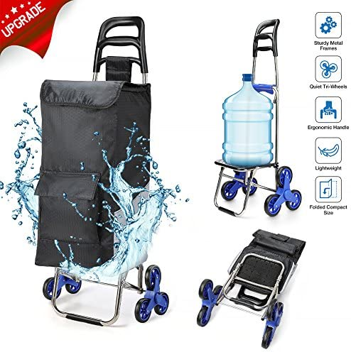 2019 Upgraded Folding Shopping Cart Stair Climbing Cart with Quiet Rubber Tri-Wheels Grocery Utility Cart with Wheel Bearings Multi Pockets Waterproof Bag Platform for Laundry Basket Loading