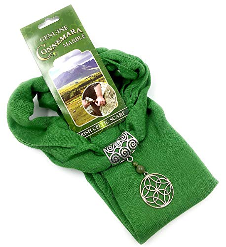 Lg. Celtic Circle Charm Scarf Made with Genuine Irish Connemara Marble
