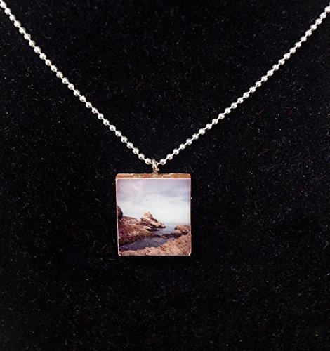 (Scrabble Tile Seascape Pendant)