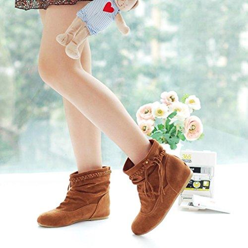 Plat Bottes Twist QinMM Mode Suede Tresse Jaune Neige Étudiants de Femmes Confortable Doux Chaussures w168Bnqw