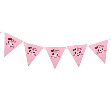 Amazon.com: OULII pancarta de feliz cumpleaños rosa Simle ...