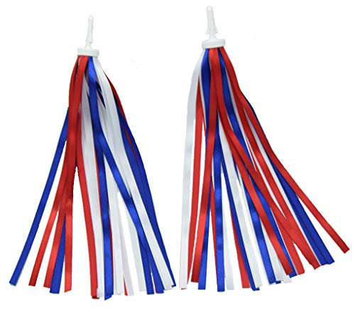 catin Patriotic Bicycle Ribbon Streamer Scooter Cloth Tassel for July 4 Independence Day Bike and Tike Parade, Red White Blue,1 Pair -