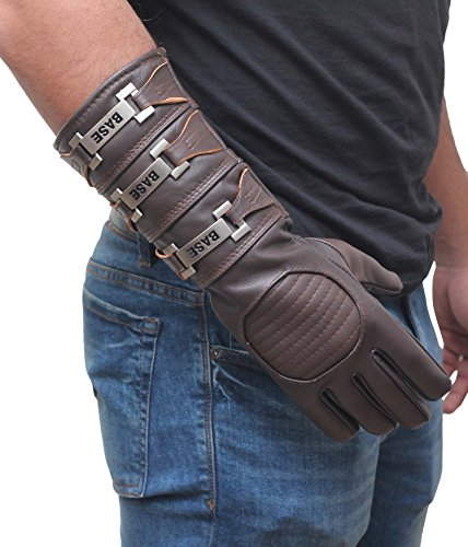 Mens Anakin Skywalker Gauntlet Gloves - Adult Costume Real Leather Gloves By Miracle (Brown, X-Large)