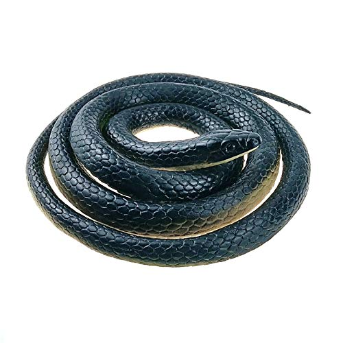 Nakimo Realistic Rubber Fake Snake Toy 50 Inch Black Mamba for Garden Props and Practical Joke (Snake And Mouse Best Friends)