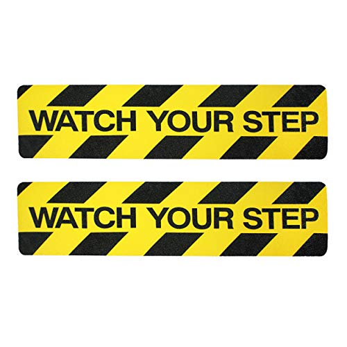 "Watch Your Step Sign Tape Adhesive | 2 Pack Non-Slip Stair Warning Treads | 6"" x 24"" Self-Adhesive Black/Yellow Safety Marker Decal ● Anti-Slip for Workplace/Home Safety ● Indoor/Outdoor Grip Tape"