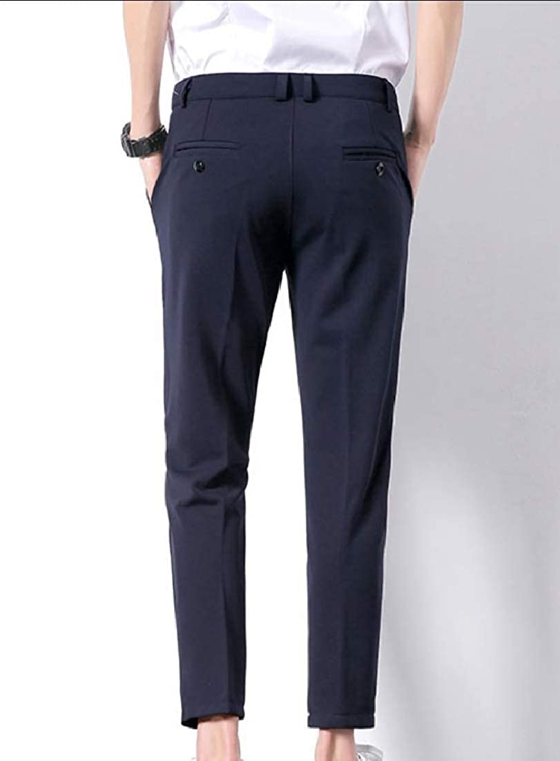 Andopa Mens Casual Slim-Tapered Fashion Business Plain-Front Pant