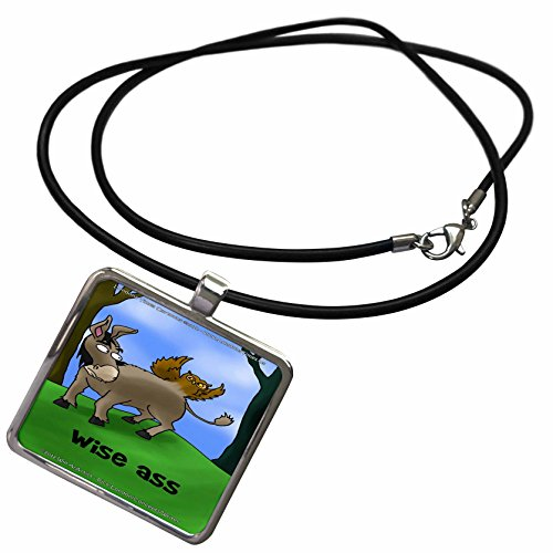 3dRose Londons Times Offbeat Gen. 2 Offbeat Cartoons - Owls and Donkeys - Wise Ass Funny Gifts - Necklace With Rectangle Pendant (Wise Ass)