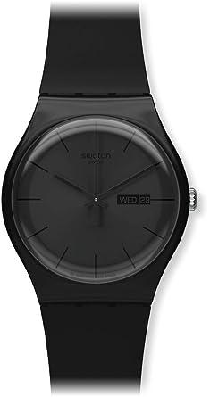 swatch menus suob quartz black dial day and date plastic watch