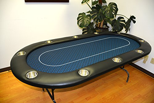 96'' full size 10 player poker table 10 large cup holders midnight blue cloth by MRC by Mrc Poker