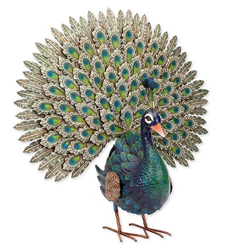Bits and Pieces – Elegant Peacock Metal Garden Sculpture – Indoor and Outdoor Décor