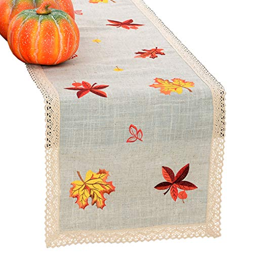 (Grelucgo Thanksgiving Holiday Lace Table Runner Or Dresser Scarf, Embroidered Maple Leaves Fall Table Linen, Autumn Decorations, Rectangular 15 by 120)