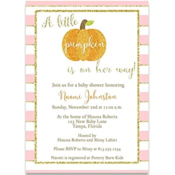 Amazon Com Baby Shower Invitation Sparkling Pumpkin Baby Shower