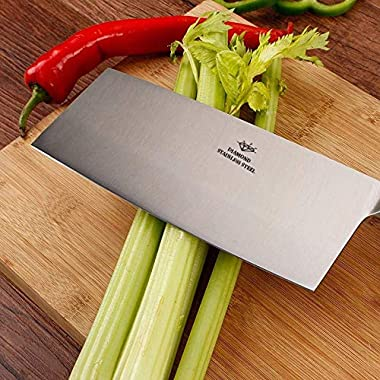 "KODENIPR CLUB Aurum Creations Big Vegetable Meat Cutter Cleaver Chopping Knife Chef Butcher Multipurpose Use for Home Kitchen or Restaurant 8''/3.5"" (Steel Handle) 7"