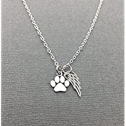 Sterling Silver Pet Loss Gift, Cat Memorial Necklace, Dog Paw Print Jewelry, Loss of Cat or Dog with Angel Wing Charm