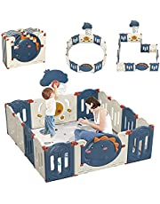 Baby Playpen, Indoor & Outdoor Kids Activity Center with Anti-Slip Base, Sturdy Safety Play Yard with Super Soft Breathable Mesh, Kid's Fence for Infants Toddlers(GREY)