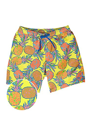 Tipsy Elves Men's Short Swim Trunks - Bright Neon Board Shorts for Vacation (Pina Colada, Small) from Tipsy Elves