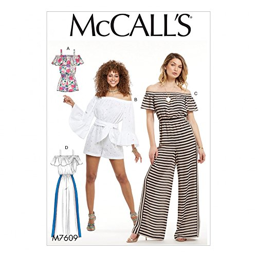 - McCalls Ladies Easy Sewing Pattern 7609 Pull On Off The Shoulder Rompers & Jumpsuits