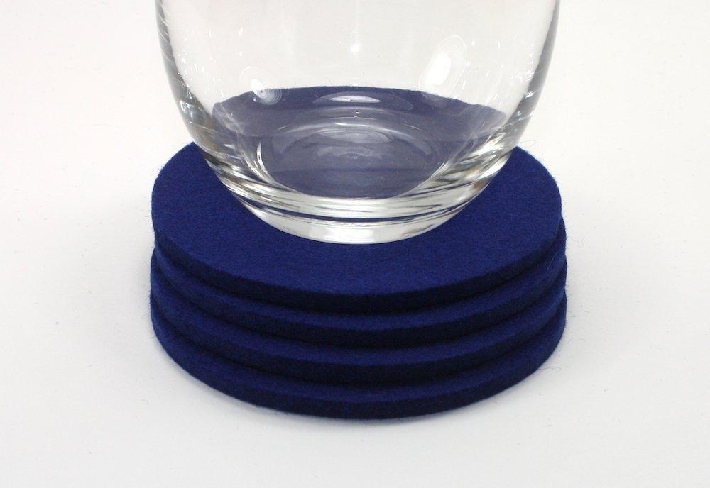 Round Felt Drink Coaster in 5mm Thick Virgin Merino Wool Felt Blue