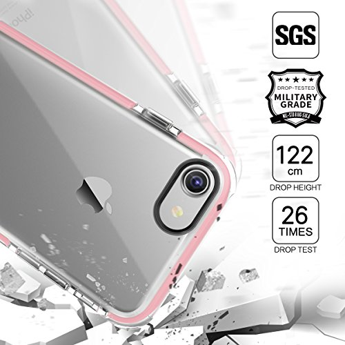 Coque iPhone 7 ROCK Pinhen i7 Cover Case Coque Housse Etui Shock-Absorption Bumper et Anti-Scratch Effacer Back TPU Silicone pour Apple iPhone 7 4.7 Inch (i7 Pink)