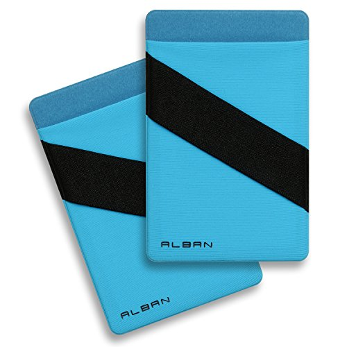 Alban 2 Pack Stick On Back of Cell Phone Pocket Wallets. Adhesive Credit Card Holder with RFID Blocking and Finger Strap - Blue