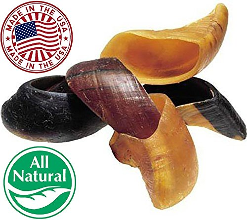 Natural Cow Hooves for Dogs (10 Pack) - Made in the USA Bulk Dog Dental Treats & Dog Chews Beef Hoof, American Made Rawhide Trim