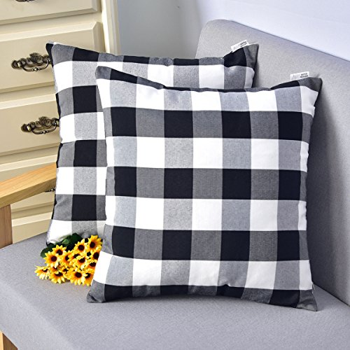 NATUS WEAVER Set of 2, Black and White Classic Retro Checkers Plaids Linen Soild Decorative Throw Pillow Covers Home Decor Set Cushion Case for Sofa Bedroom Car 18 x 18 Inch 45 cm ()