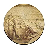 Old Map Nautical Pirate Ship Soft Comfort Flannel Round Area Indoor Mats Rugs,Anti-Skid Multi-Use Doormat Super Absorbent Washroom Mat Toilet,Kitchen Floor Mats Washable Home Decor Carpets