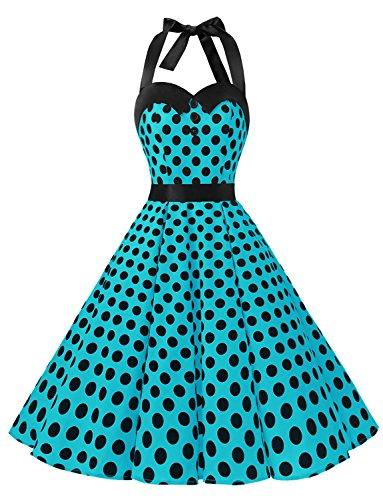 Dressystar Vintage Polka Dot Retro Cocktail Prom Dresses 50's 60's Rockabilly Bandage Blue Black Dot ()