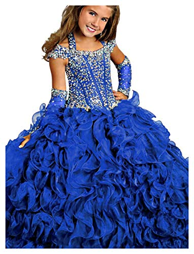 Y&C Girls Halter Chest Full Crystal Ball Gown Floor Length Pageant dresses (8, Royal Blue 2)
