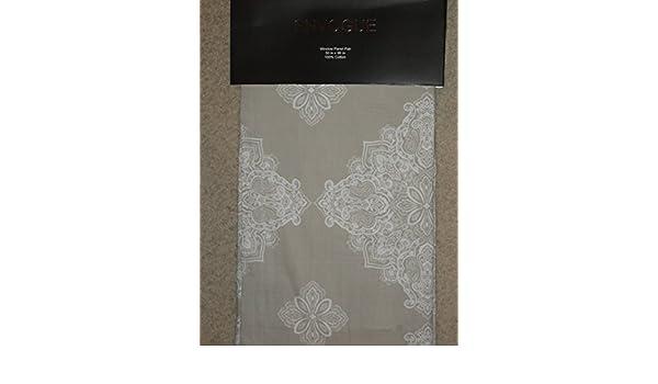 Envogue Tan White Damask Medallion Window Panels Drapes Set 2 NEW 50x96 Marlo