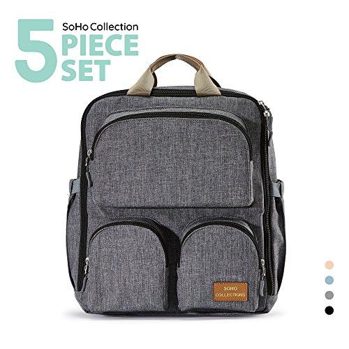 SoHo diaper bag backpack Daily Essential 5 pcs nappy tote ba