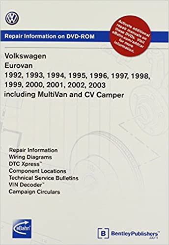 volkswagen eurovan 1992, 1993, 1994, 1995 1996, 1997, 1998, 1999 2000,  2001, 2002, 2003 including multivan and cv camper repair manual on dvd-rom  (windows