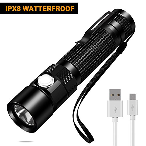 USB Rechargeable Tactical LED Flashlight, IPX8 Waterproof Cree Flashlight, 5 Modes Super Bright Torch for Camping, Hiking, Diving (Battery Included)