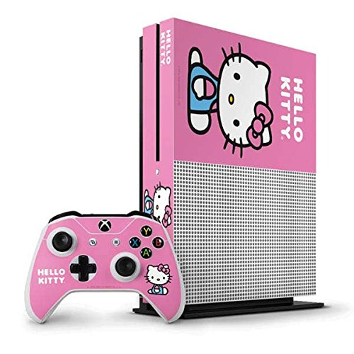 Hello Kitty Xbox One S Vertical Bundle Skin - Hello Kitty Sitting Pink Vinyl Decal Skin For Your Xbox One S Vertical Bundle (Xbox One Skins Hello Kitty)