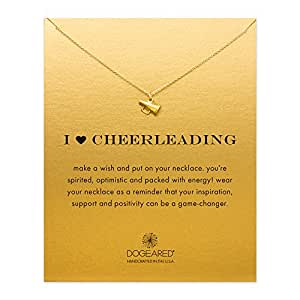 """Dogeared Gold Dipped I Love Heart Cheerleading Megaphone 16"""" Boxed Necklace"""