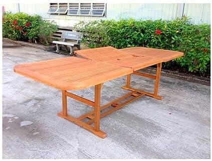 Amicasa. Baden - Mesa de jardín extensible de madera rectangular 180/260 x 100: Amazon.es: Hogar