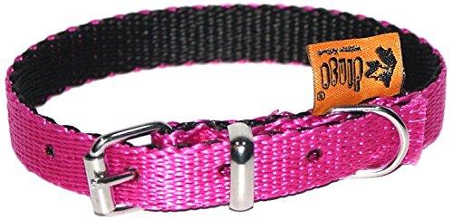 Dingo Dog Collar Handmade Pink with Black Contrast 14597