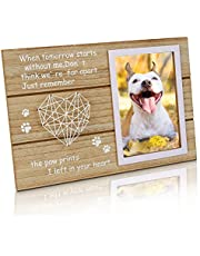 Ideashop Pet Memorial Picture Frame, Dog Memorial Gifts with Paw Prints and Woven Heart Design, 6x4 inches Photo Opening Remembrance Picture Frame for Dogs Cats