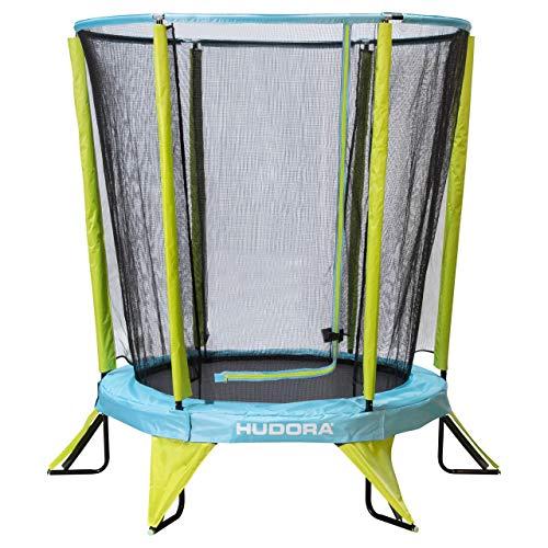 Hudora Safety 140 - Cama elastica Infantil para jardin (tambien para Interiores), Color Verde y Azul