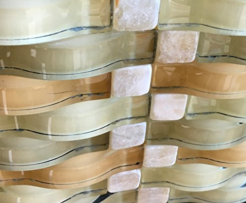 Rich Gold Chardonnay Ripple Series 3D Wave Backsplash Glass Stone Mosaic Tile for Kitchen Bathroom (Sample)