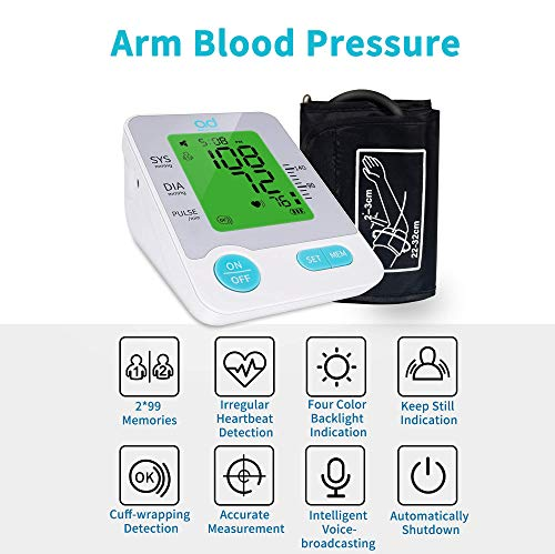 Blood Pressure Monitor, Automatic Upper Arm Machine Digital BP Cuff Kit with Large Color LCD Display Sets Smart Voice Broadcast Support Typc Charging Supply