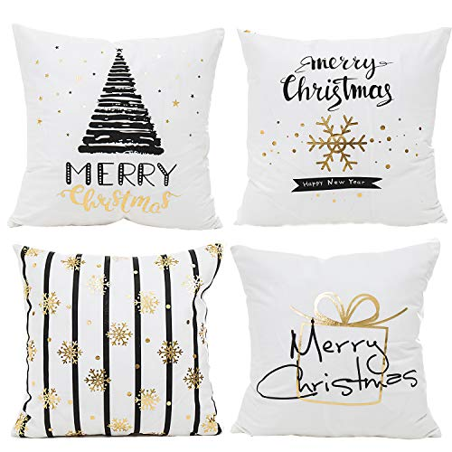 Keyuan 4PCS Merry Christmas Throw Pillow Covers 18x18 Christmas Decorative Couch Pillow Cases Autumn Pillow Square Cushion Cover for Sofa, Indoor Outdoor Home Décor,Merry for $<!--$22.90-->
