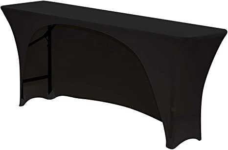 Your Chair Covers Spandex 6 Ft x 18 Inches,Narrow Classroom Open Back Rectangular Stretch Tablecloth Black