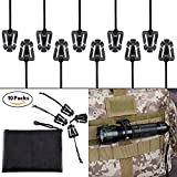Pack of 10 Tactical Gear Clip Molle Web Dominators for Outdoor Hydration Tube Backpack Straps Management with Zippered Pouch by BOOSTEADY