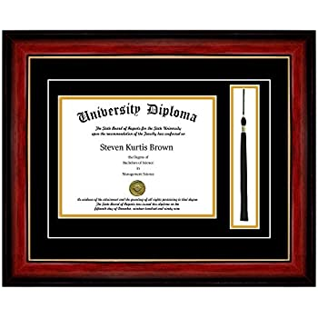 single diploma frame with tassel and double matting for 85 x 11 tall diploma - Diploma Frames With Tassel Holder