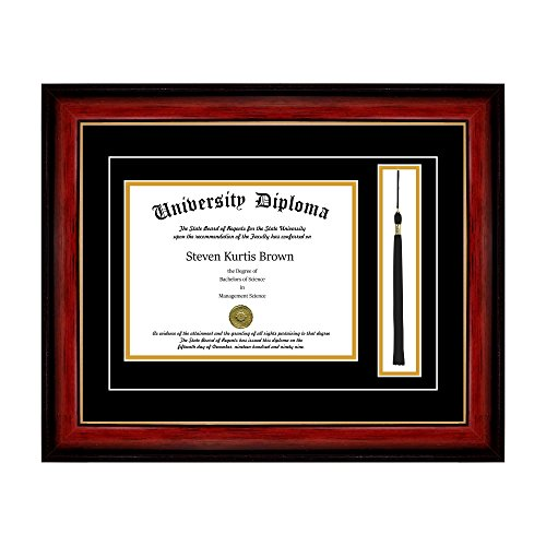 Single Diploma Frame with Tassel and Double Matting for 14'' x 11'' Tall Diploma with Mahogany with Gold Lip 2'' Frame by Perfect Cases