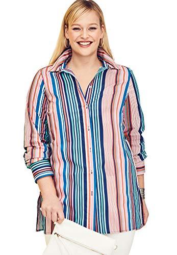 Jessica London Women's Plus Size Long Sleeve Collared Poplin Tunic - Bright Barcode, 16