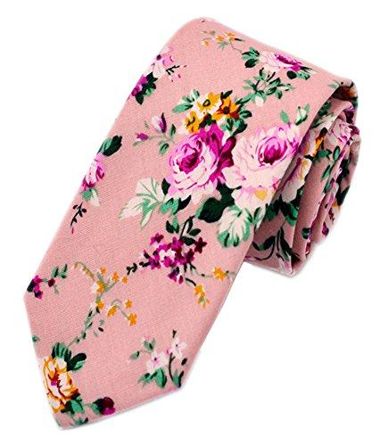 Secdtie Men's Skinny Tie Fashion Causal Cotton Floral Printed Linen Necktie MK14